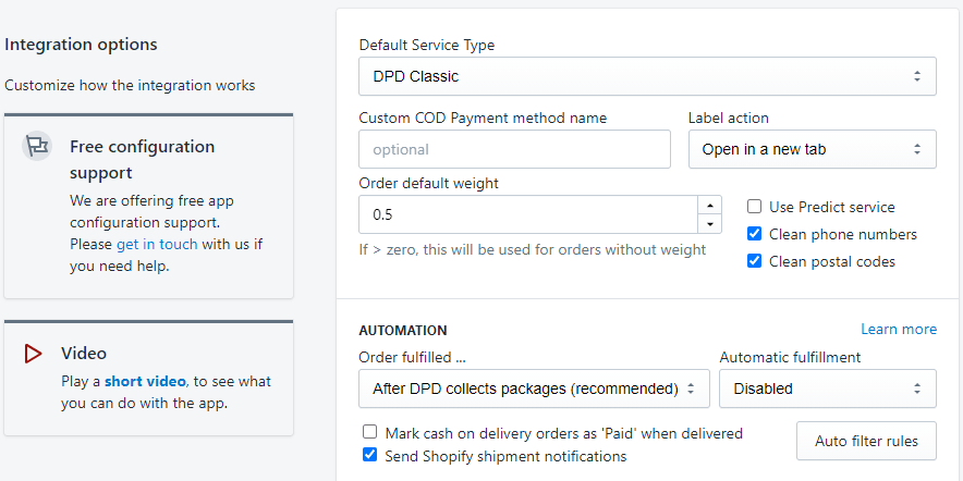 DPD Hungary app screenshot options page