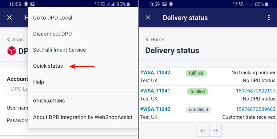 DPD Quick status page on mobile phone
