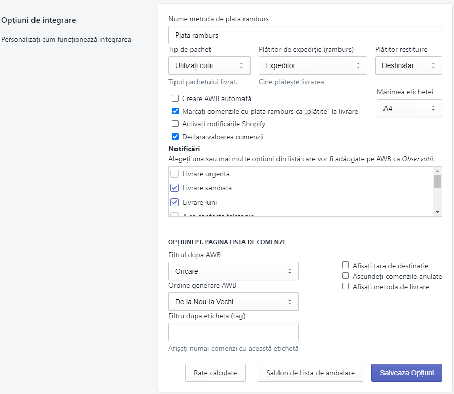 FAN Courier - Shopify integration options
