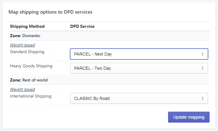 Shipping method mapping to DPD services