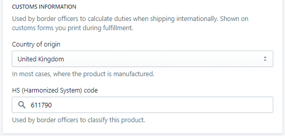 Form to edit customs info in Shopify