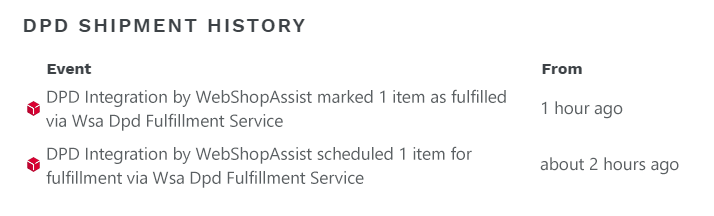 DPD order history in website